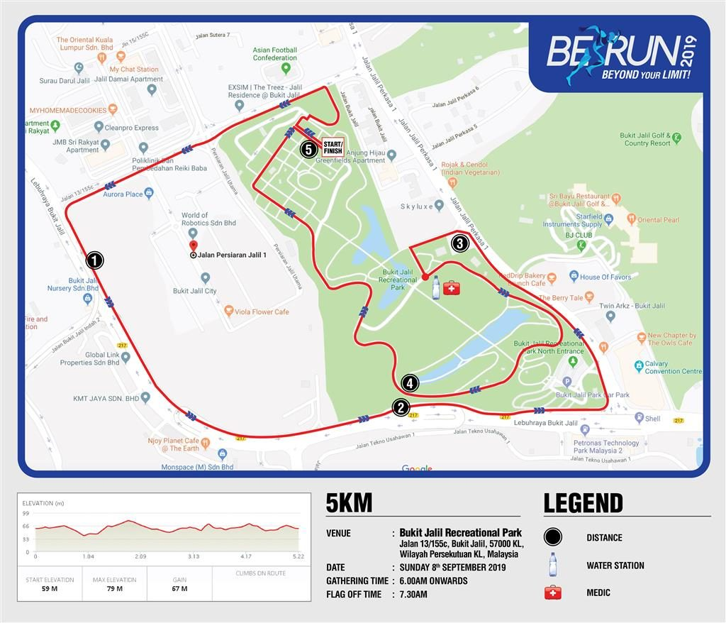 BE Run 2019 Route Map
